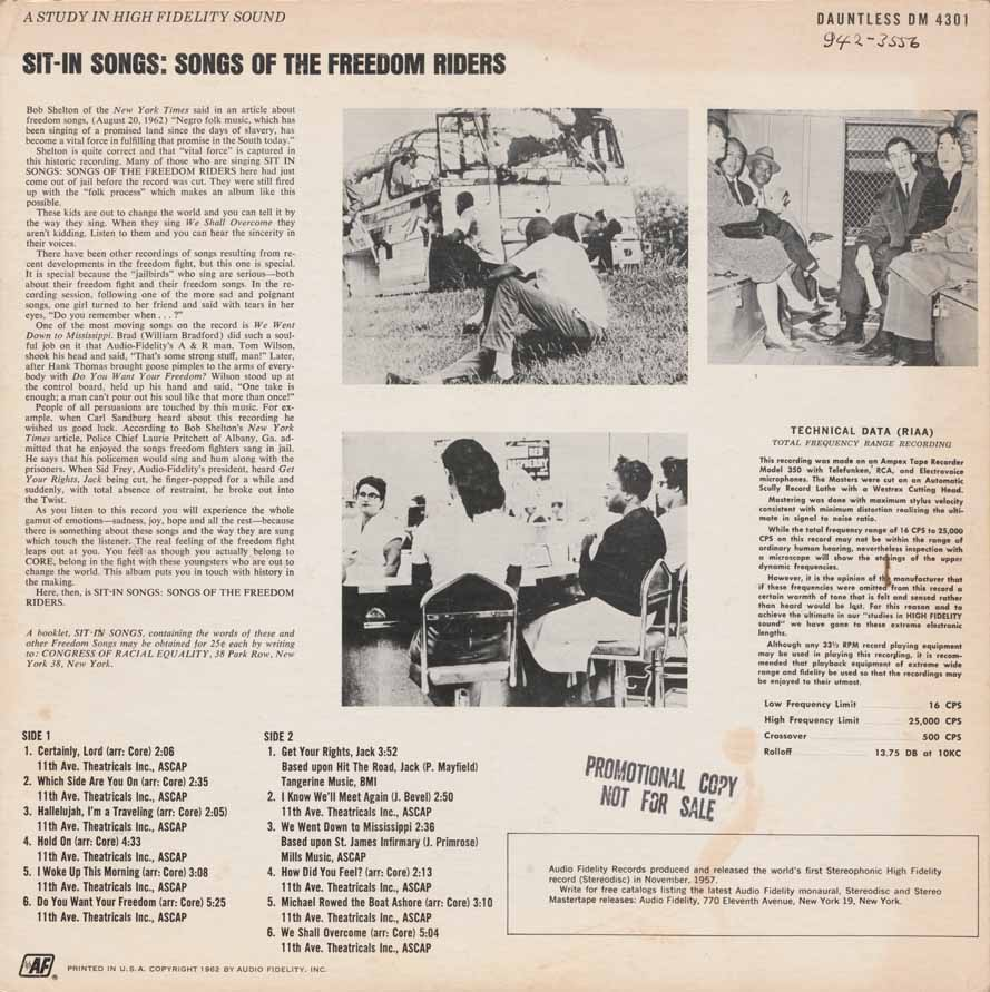Sit-in songs back cover