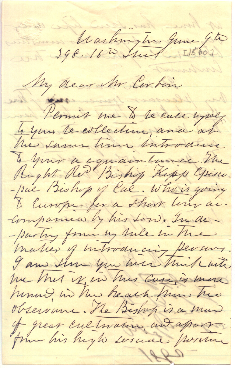Greenhow Papers Letter To Francis Corbin June 9 1860