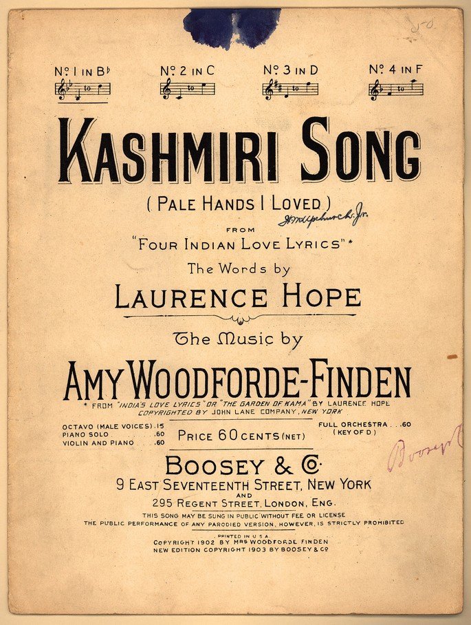 All Music Chords indian music sheet : Kashmiri song; Four Indian love lyrics; Pale hands I loved ...