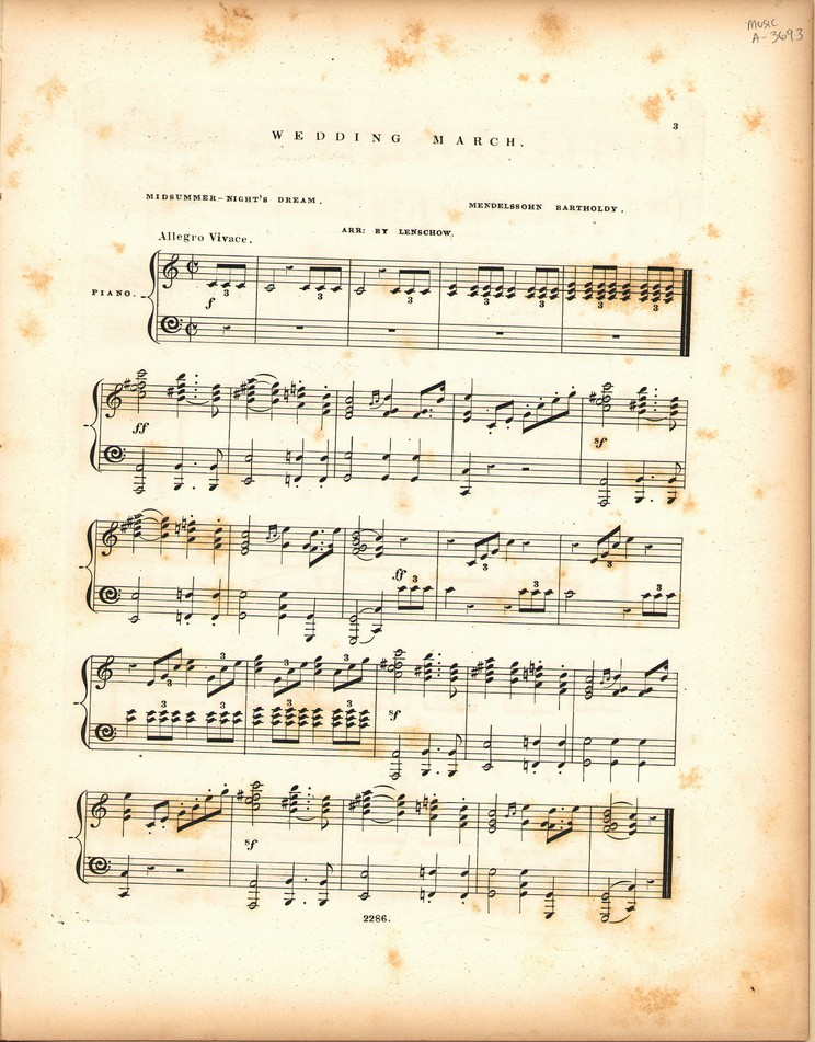 Wedding March Midsummer Nights Dream Historic American Sheet Music