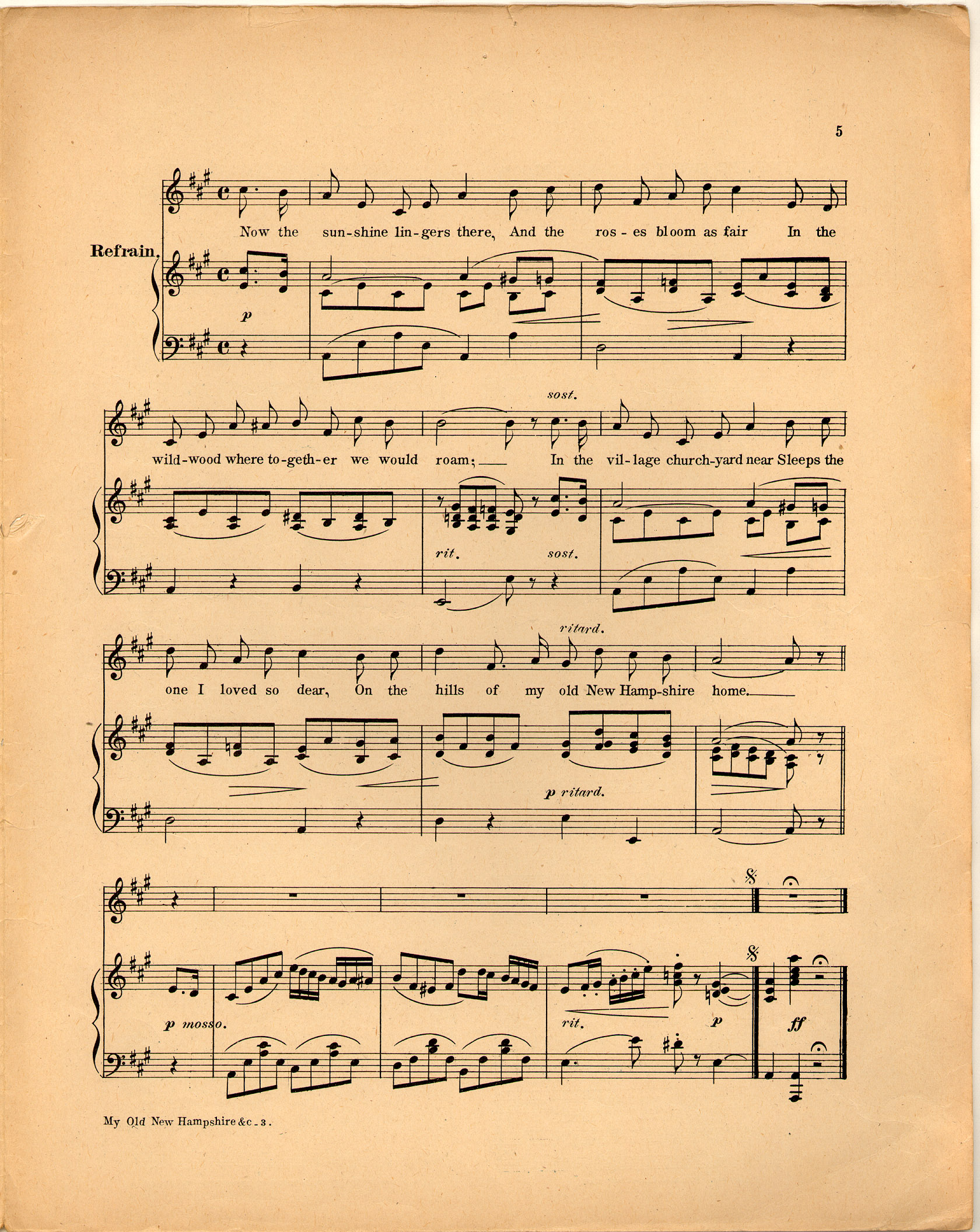 My old new hampshire home historic american sheet music for Vintage house music