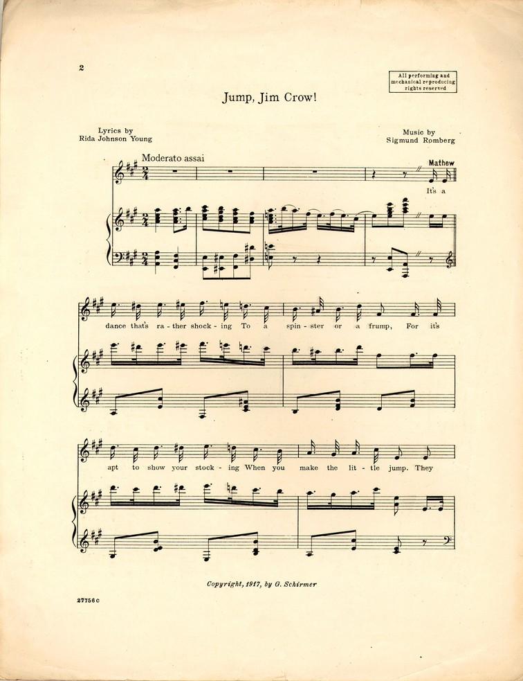 Jump Jim Crow Maytime Historic American Sheet Music
