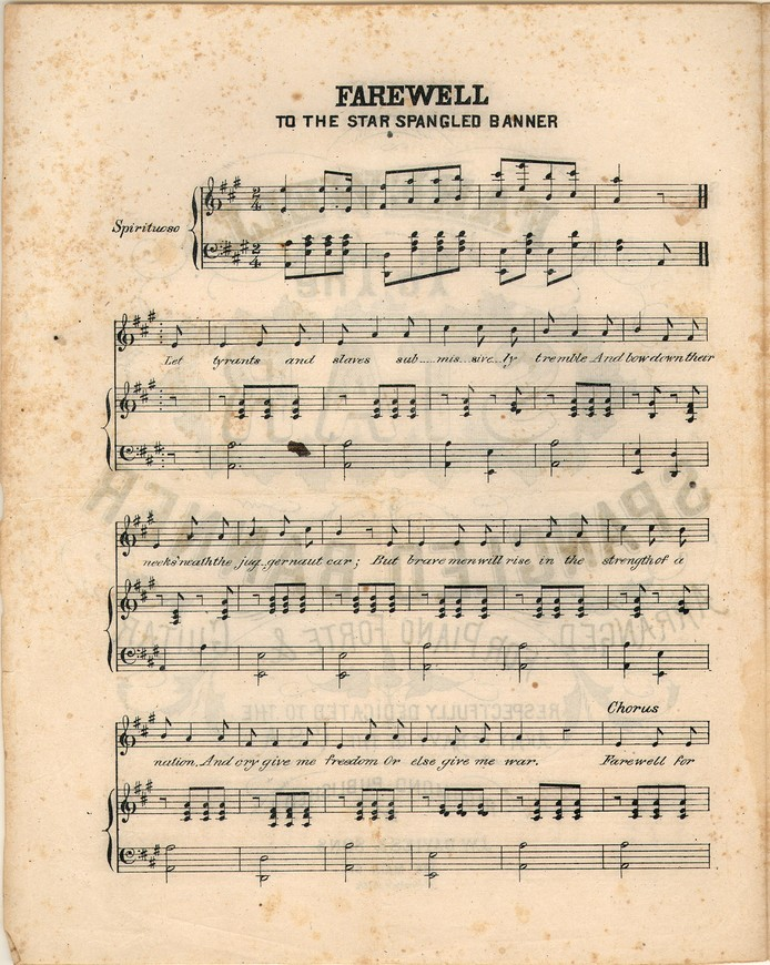 Farewell to the star spangled banner [Historic American Sheet Music]