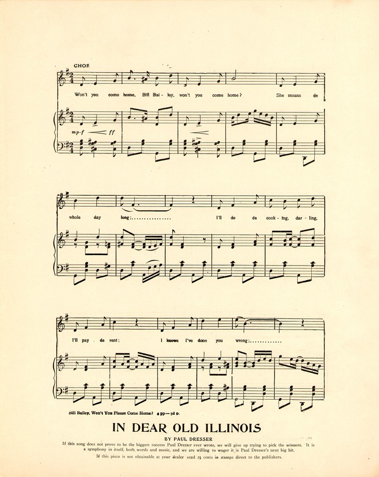 All Music Chords fall for you sheet music : Bill Bailey, won't you please come home? [Historic American Sheet ...