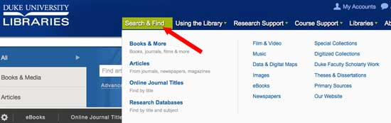 a number of high-focused search options are available via the Search and Find menu