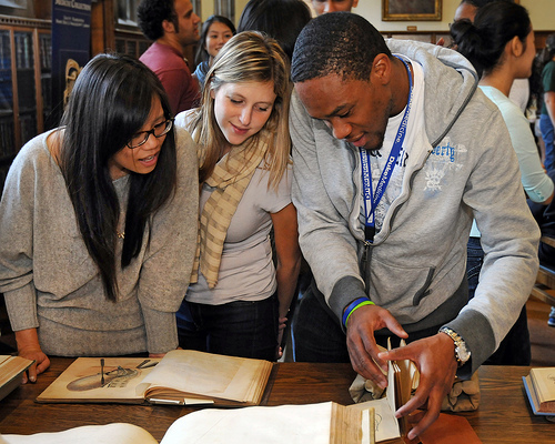 Students studying materials from the History of Medicine Collections