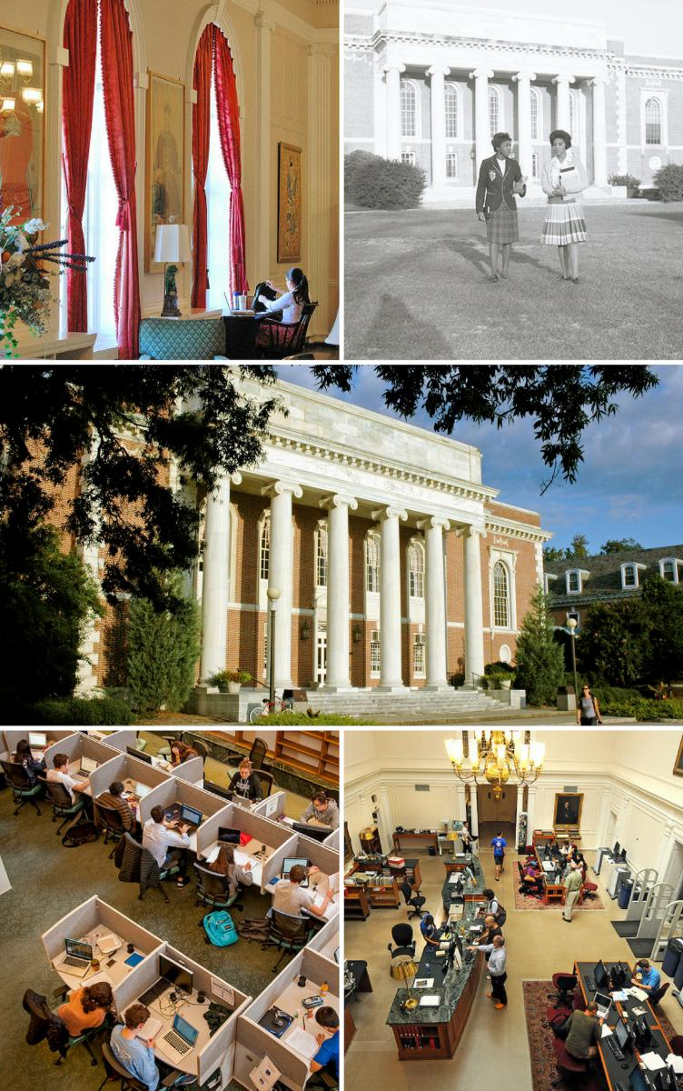 Historical and contemporary images of Lilly Library