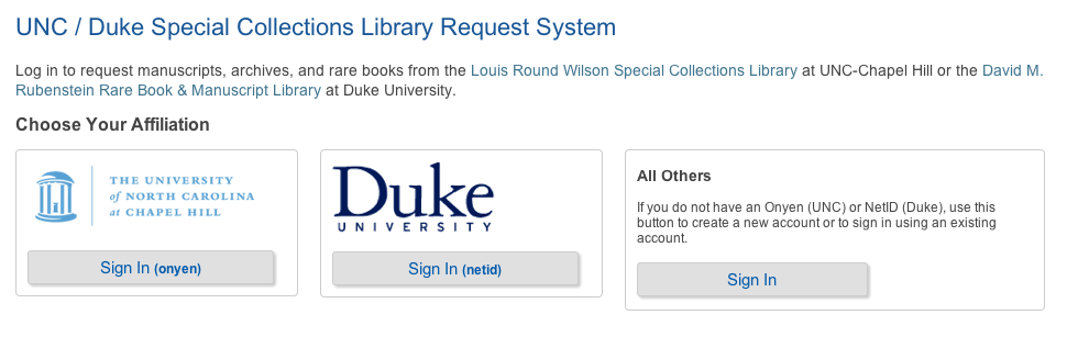 unc duke special collections library request system